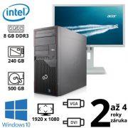 """Fujitsu Esprimo P700 E90+, Pentium G840, 8GB, NOVÝ 240SSD + 500GB, W10 + 24"""" FullHD Acer B246HL"""