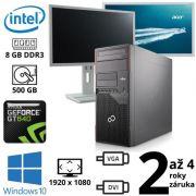 """Fujitsu Esprimo P700 E90+, Pentium G840, 8GB, 500GB, W10 + 2x 24"""" FullHD Acer B246HL"""