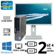 """Dell Optiplex 790 USFF i5 2400S, 8GB, NOVÝ 240GB SSD, W10 + 24"""" FullHD Acer B246HL"""