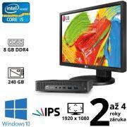 """HP EliteDesk 800 G2 DM i5 6500T, 8GB, 240GB SSD, W10 + 24"""" Full HD IPS LG Flatron 24MB35PM"""