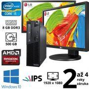 """Lenovo ThinkCentre M81 SFF i5 2400, 8GB, 500GB, Radeon HD 5450, W10 + 2x 24"""" Full HD IPS LG Flatron 24MB35PM"""