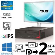 "Fujitsu Esprimo E520 E85+ DT i5 4400E, 4GB, 500GB, DVD RW, W10 + 24"" Full HD IPS Asus BE24A"