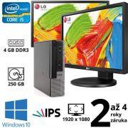 """Dell Optiplex 9020 USFF i5 4590S, 4GB, 250GB, W10 + 2x 24"""" Full HD IPS LG Flatron 24MB35PM"""