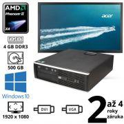 "HP Compaq 6005 Pro SFF čtyřjádro 3.00GHz, 4GB, 500GB, W10 + 24"" Full HD Acer B246HL"